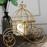 BalsaCircle Gold Cinderella Carriage with Candle