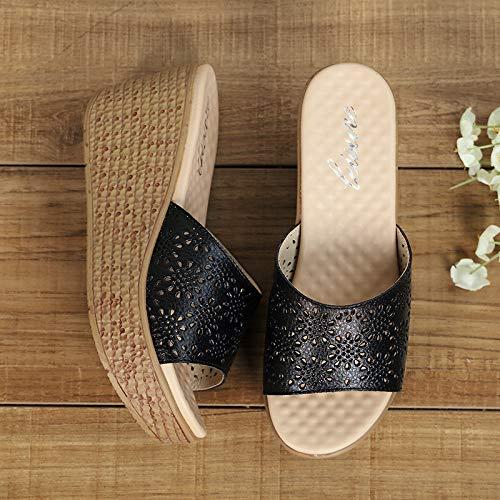 Peep fuori Dimensione EU ZHRUI pelle Toe da donna Sandali 40 Colore Bianca scarpe da in scava spiaggia Nero Platform wYYZ1fCqnz
