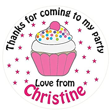 A4 sheet of round personalised cupcake birthday party favour labels stickers 35 x 37mm