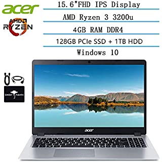 2020 Newest Acer Aspire 5 Slim Laptop 15.6 FHD IPS Display, AMD Ryzen 3 3200u-Dual Core (up to 3.5GHz), Vega 3 Graphics, 4GB RAM, 128GB PCIe SSD + 1TB HDD, HDMI, Windows 10 w/Ghost Manta Accessories