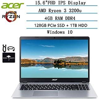 2020 Newest Acer Aspire 5 Slim Laptop 15.6 FHD IPS Display, AMD Ryzen 3 3200u-Dual Core (up to 3.5GHz), Vega 3 Graphics, 4GB RAM, 128GB PCIe SSD + 1TB HDD, HDMI, Windows 10 w/Ghost Manta Accessories