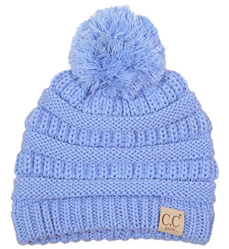(H-6847-28 Girls Winter Hat Warm Knit Slouchy Toddler Kids Pom Beanie - Pale Blue)