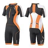 2XU Womens Compression Sleeved Trisuit, Ink/Sunburst Orange, Small