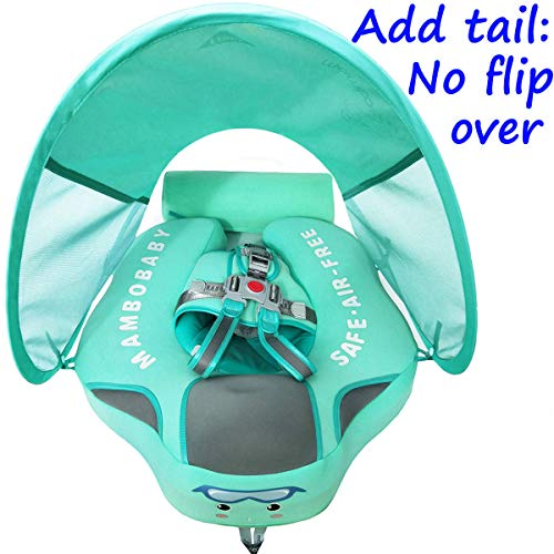 V Convey Newest Add Tail no flip Over Start 2019.12.22 Baby Non-Inflatable Float Mambobaby Swim Trainer Infant Solid Swimming Ring Children Waist Float Ring Pool Floats Sunshade Swim Ring