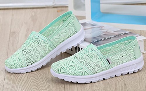 Breathable Size Flower Slip Hollow Lace Running Color On Classics Loafers Women's Sneakers Green Trainers Summer Outdoor GFONE Casual Floral Shoes wnUqxY16fX