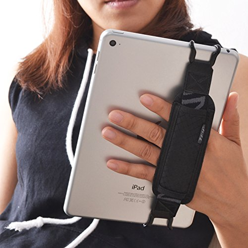TFY Tablet Security Hand Strap Holder, Compatible with iPad (iPad Mini & Mini 2 & Mini 3 / iPad Air/iPad Air 2 / iPad Pro 9.7Inch) - Samsung Tablets - Nexus 7 / Nexus 10 and More (Black) (Handheld Tablet Holder)