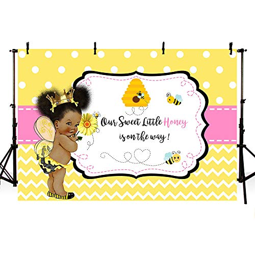 MEHOFOTO 7x5ft Sweet Little Honey Bee Girl Baby Shower Party Decorations Backdrop Yellow Polka Dots Wave Bee-Day Pink Princess Photography Background Photo Banner