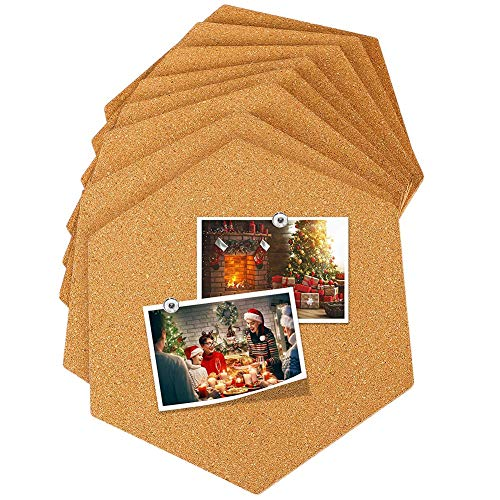 (Mini Cork Bulletin Board for Photo Memo Message Notice Key, 3 Shapes (Round/Square/Hexagon) Home Room Bedroom Living Room School Dormitory Dorm Shop Studio Wall Decor Decoration Wooden Board Backdrop)