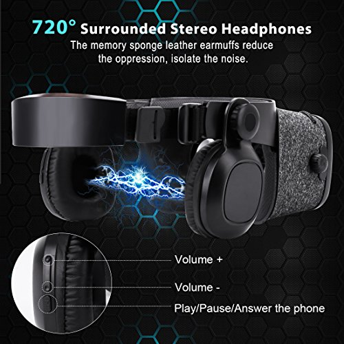3D VR Headset With Remote Controller for 3D Movies & VR Games, Skin-Friendly Lightweight Comfortable Virtual Reality Headset with Stereo Headphone, Fit for 4.7''-6.2'' iPhone and Android Smartphones by EXCLEAD (Image #5)