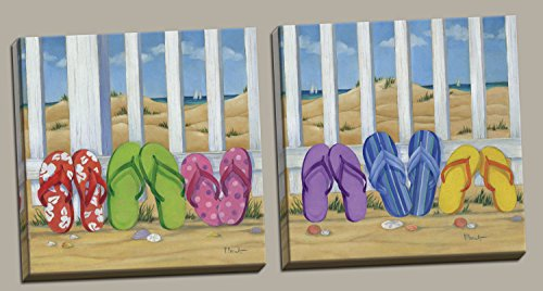 Cute, Colorful Flip Flops; Summer Day Beach Scene; Coastal Decor; Two Stretched Canvases;