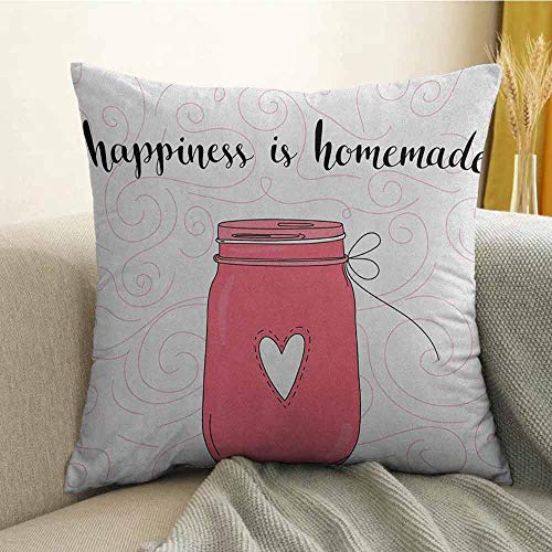 FreeKite Quote Pillowcase Hug Pillowcase Cushion Pillow Calligraphic Happiness is Homemade Lettering with Swirls and Jar of Love Anti-Wrinkle Fading Anti-fouling W16 x L24 Inch Pink Black and Coral -