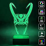 Cheap CMLART Handmade The Avengers Loki Logo Art 3d Lamp RGB Full Color 44 Key Remote control LED Night Light Best Gift Desk Table Lighting Home Decoration Toys