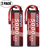 AWANFI 2S LiPo RC Battery 7.4V 5000mAh 60C Rechargeable RC Battery Hard Case with Deans T Plug for RC Car RC Truck RC Boat Airplane Helicopter Traxxas Kyosho Racing FPV Quadcopter Drone Hobby (2 Pack)