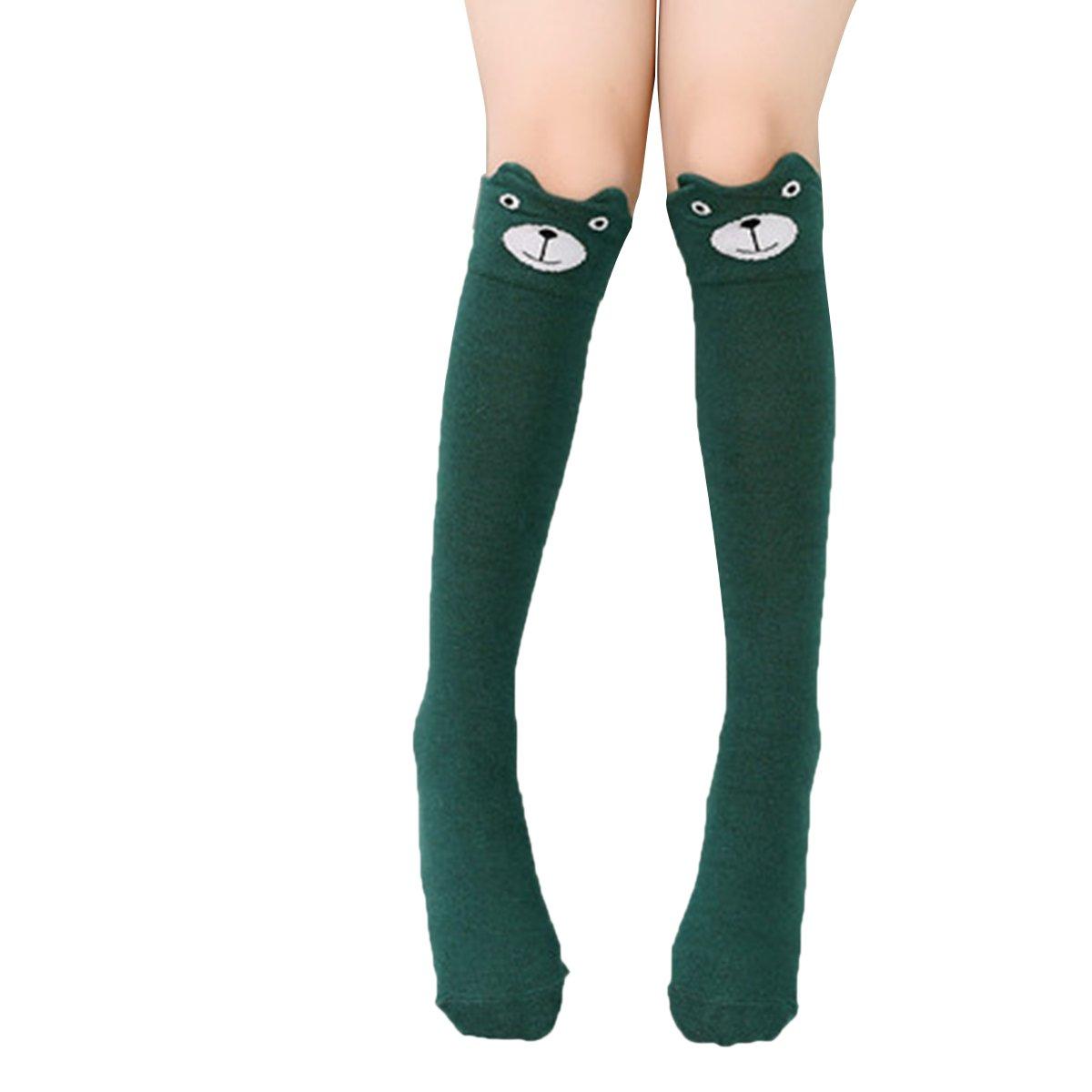 Butterme Baby Girls Cute Cartoon Animal Cat Bear Fox Cotton Socks Over Calf Knee High Socks Stockings for 3-10 Years Old Kids ZUMUii