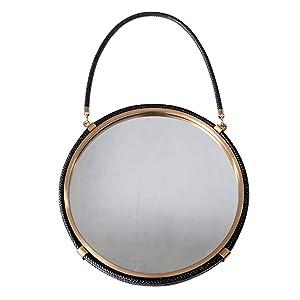 Miroirs Mural Style européen en Fer forgé Tenture Murale Maquillage Montage Salle de Bain (Color : Black, Size : 44cm)