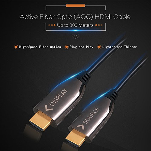 Fiber Optic AOC High Speed HDMI 1.4 Cable 4:4:4 HDMI Cable ARC 4K 30Hz/60Hz Ultra Slim Active Full Speed Cable 1.4V 5 Meters 16 Ft Audio/Video Gold-Plated by CZGarage (Image #1)