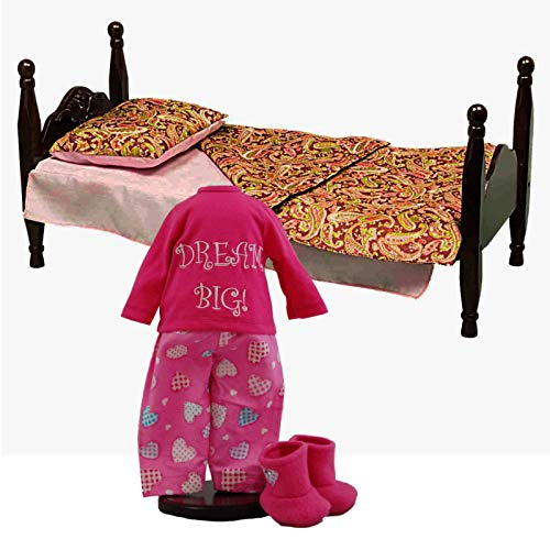 The Queen's Treasures Single Stackable 18 Inch Doll Wooden Bed & 3 Piece Bedding Set Plus Dream Big Pajamas Set. Doll Clothes Outfit & Furniture Fits American Girl