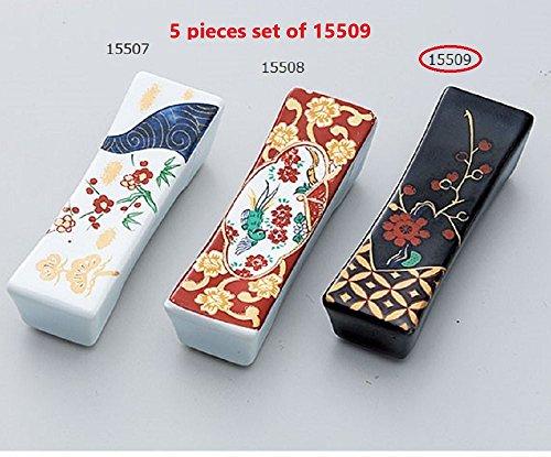 Yamako Japanese Mino-yaki Ceramic Chopstick rest (5 pieces set) Black Plum From Japan 15509