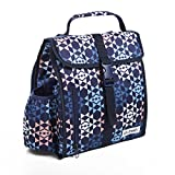 Fit & Fresh Diana Small Backpack, Lunch Bag for Women/Girls, Insulated Daypack for Travel and Work, Navy Diamond Geo