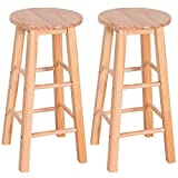 24'' Barstool Wood Bar Stools Pub Seat Bar Chair Set of 2 for Kitchen Breakfast Counter Bar Coffee Shop (wood color)