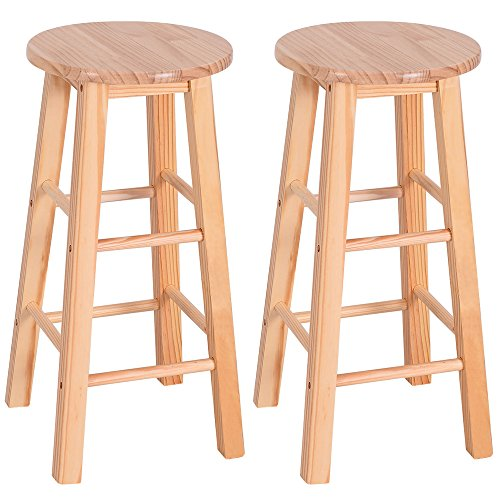 24'' Barstool Wood Bar Stools Pub Seat Bar Chair Set of 2 for Kitchen Breakfast Counter Bar Coffee Shop (wood color) by Lovinland