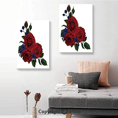 Canvas Wall Art Decor,Blooming Red Roses with Gentle Wild Flowers Leaves Bouquet Corsage Decorative,24