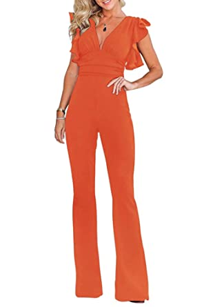 4390ae2615 Indistyle Women s Elegant V Neck Ruffles High Waist Jumpsuit Long Pants  Romper with Cap Sleeves Orange