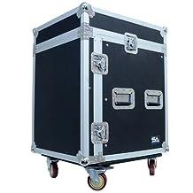 Seismic Audio-SAMRC-12U-12 Space Rack Case with Slant Mixer Top and Casters-PA/DJ Pro Audio Road Case