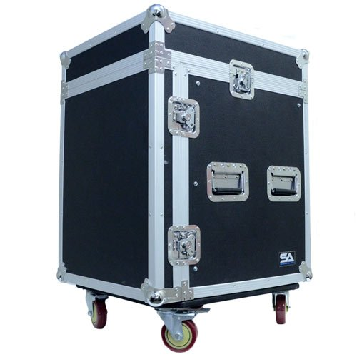 Seismic Audio - SAMRC-12U - 12 Space Rack Case with Slant Mixer Top and Casters - PA/DJ Pro Audio Road Case by Seismic Audio