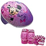 Disney Minnie Mouse Girls Toddler Skate / Bike Helmet Pads & Gloves - 7 Piece Set