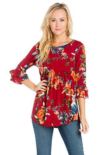 Junky Closet Women's Long Sleeve Stretch T Shirt Blouse Top (1X-Large, T2985CLAA Burgundy)