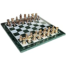 "20"" x 20"" Collectible Green Marble Chess Board Game Set + Brass Crafted Pieces"