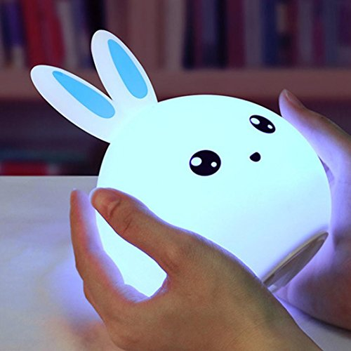 Rabbit Chandelier (Mini LED Lights Cartoon Rabbit Lamp,Battery Power Lovely Silicone Night Light Bulb for Bedroom Home Decor Gift by Staron (Blue))