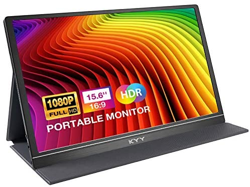 Portable Monitor - KYY 15.6'' FHD 1080P Portable Laptop Monitor USB C HDMI Gaming Monitor Ultra-Slim IPS Display w/Smart Cover & Speakers, Plug&Play, External Monitor for Laptop PC Phone Mac Xbox PS4