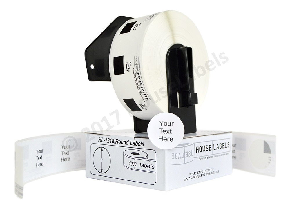 12 Rolls of BROTHER-Compatible DK-1218 Round Labels (Diameter 1''/25.4mm; 1000 Labels per Roll) -- Including ONE (1) Reusable Black Cartridge -- BPA Free!