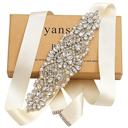 (Yanstar Silver Crystal Beads Rhinestone Wedding Bridal Belt Sash With Cream Ribbon For Bridesmaid Wedding Party Porm Gown Dress)