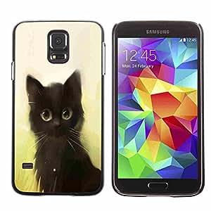 Shell-Star ( Cute Painting Kitten Cat Black Pet Animal ) Fundas Cover Cubre Hard Case Cover para Samsung Galaxy S5 V SM-G900