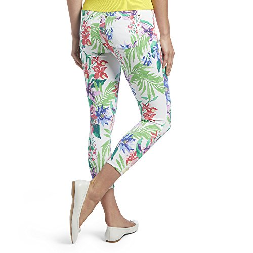HUE, Women's, HUE Women's Essential Denim Capri Leggings, Tropical Orchid White, XS (Petite Tropical Wool Pants)