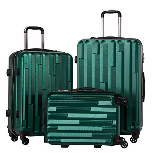CoolifeHard shell Lightweight Travel Luggage Suitcase Luggage 3 Piece Set (dark green)