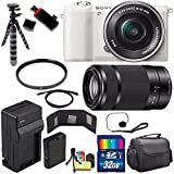 Sony Alpha a5100 Mirrorless Digital Camera with 16-50mm Lens (White) + Sony E 55-210mm f/4.5-6.3 OSS E-Mount Lens 32GB Bundle 20 - International Version (No Warranty)
