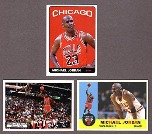 Michael Jordan Custom (3) Card Lot Featuring 1960 Topps Design, 1965 Topps Football Design, and Jordan Dunking (Bulls)