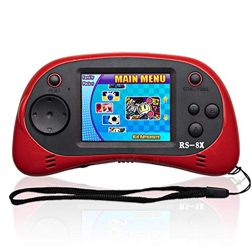Mini Retro Classic Video Games Controller Shinyboy RS-8X Portable Handheld Game Console Built-in 40 HD Family TV Games 2.5 inch LCD Screen AV Output Arcade Video Gaming System for Kids Adults -RED