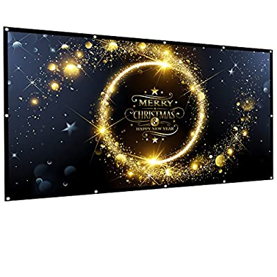 Owlenz 120 inch Projection Screen 16:9 HD Foldable Anti-crease Portable Projector Movies Screen for Home Theater Outdoor Indoor Support Double Sided Projection , 2.5 lbs Only