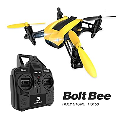 Holy Stone HS150 Bolt Bee Mini Racing Drone RC Quadcopter RTF 2.4GHz 6-Axis Gyro with 50KMH High Speed Headless Mode Wind Resistance Includes Bonus Battery from Holy Stone