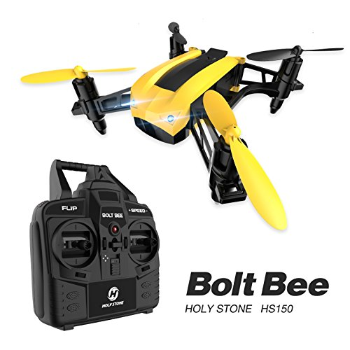 Holy Stone HS150 Bolt Bee Mini Racing Drone RC Quadcopter RTF 2.4GHz 6-Axis Gyro with 50KMH High Speed Headless Mode Wind Resistance Includes Bonus Battery - Rtf Mini Rc Helicopter