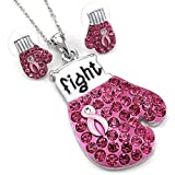 Soulbreezecollection Pink Ribbon Boxing Gloves Breast Cancer Awareness Necklace Pendant Earrings Set