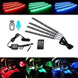 "iJDMTOY 4pc 12"" 72-SMD 7-Color RGB LED Knight Rider Sound Active Lighting Kit w/ Wireless Control For Car SUV Truck Motorcycle Bike ATV Interior Exterior Use"