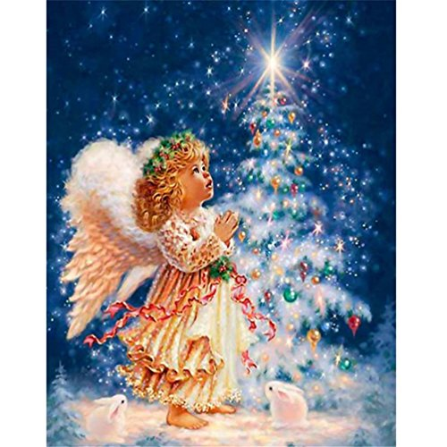 Price comparison product image Haotfire Hot New DIY 5D Diamond Painting Kit Crystals Diamond Embroidery Rhinestone Painting Pasted Paint By Number Kits Stitch Craft Kit Home Decor Wall Sticker - Angel Girl Xmas Snow Tree
