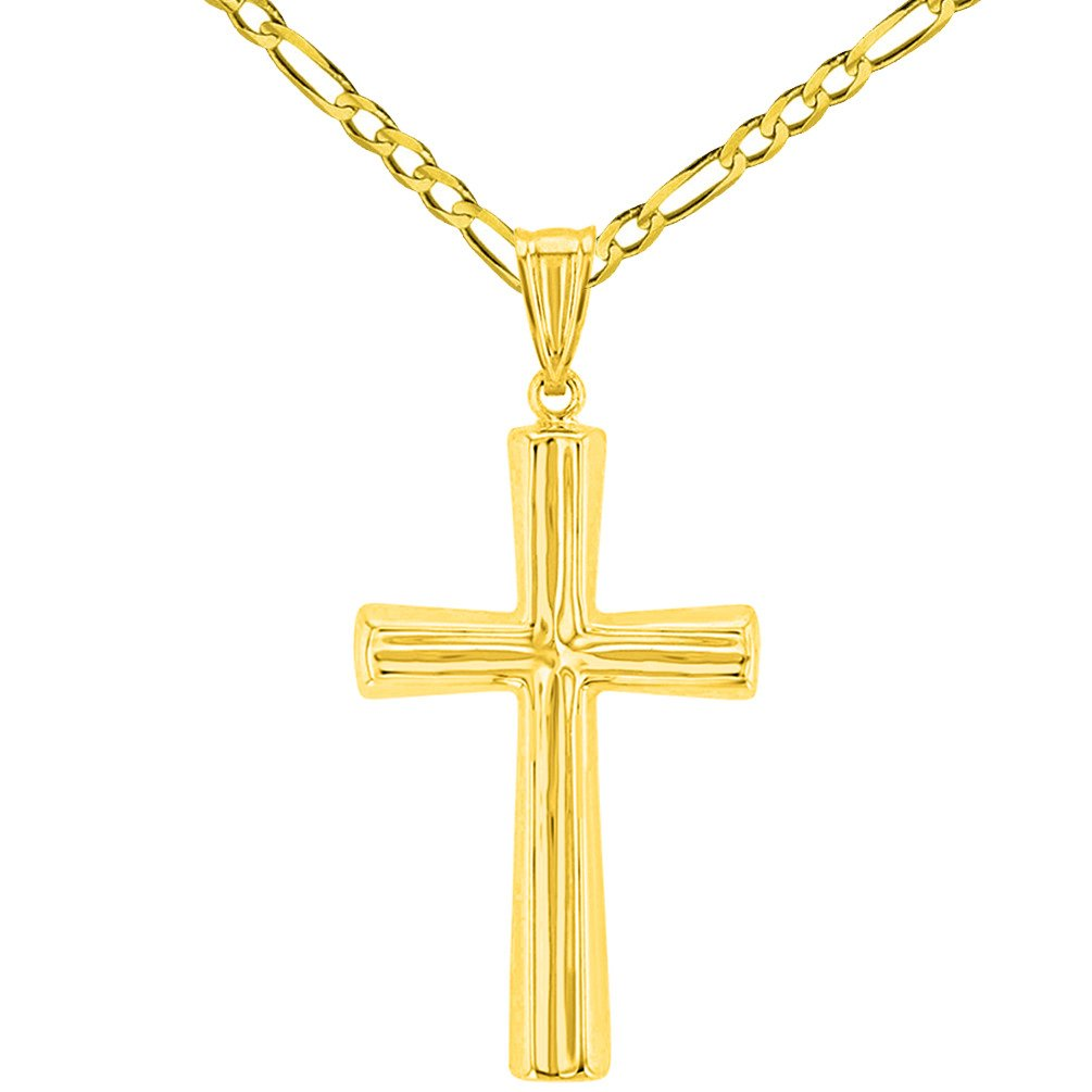 Polished 14K Yellow Gold Plain Religious Cross Pendant with Figaro Chain Necklace, 24''