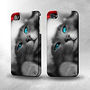 Apple iPhone 5 / 5S Case - The Best 3D Full Wrap iPhone Case - Cute Cat Kitty Xmas